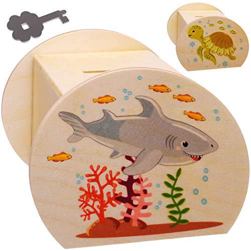 alles-meine.de GmbH große Holz - Spardose - Hai Fisch & Schildkröte - mit Schlüssel & Schloß - stabile Sparbüchse - 11,5 cm - Sparschwein - für Kinder & Erwachsene - Kinderspardo..