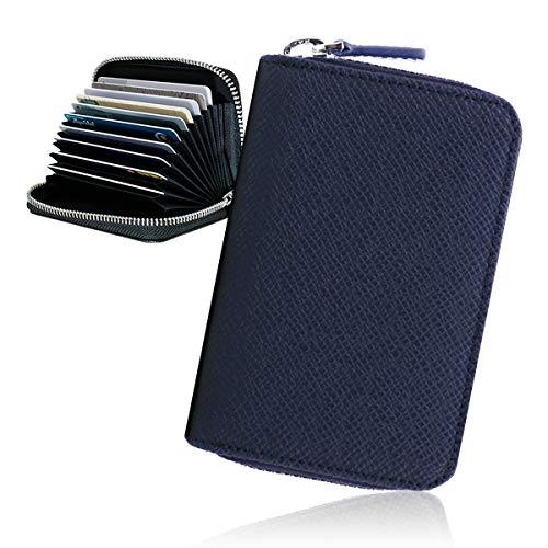 スキミング防止 カードケース メンズ 大容量 磁気防止 牛革 じゃばら クレジットカードケース YKKファスナー RFID 18枚収納 FRANK GERALD (ネイビー)