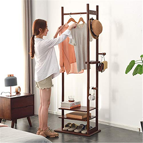 Feixunfan Clothes Garment Rack Coat Rack Floor Hanger Bedroom Simple Creative Living Room Multifunctional Racks Hanging Clothes Rack for Bedroom Entrance (Color : Brown, Size : 180x35x60cm)