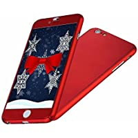 IPAKY All-Round Protective Slim Case Cover with Tempered Glass Screen Protector Skin for Apple iPhone 6/6S 4.7 Inch (Red)