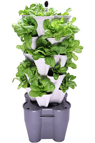 Smart Farm – Automatic Self Watering Garden – Grow Fresh Healthy Food Virtually Anywhere Year Round – Soil or Hydroponic Vertical Tower Gardening System by Mr Stacky (Standard Kit, Stone)