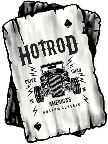 B&W Ace Playing cards Design With Old School American Hot Rod Rat Rod Motif Vinyl Car Sticker Decal 100x75mm