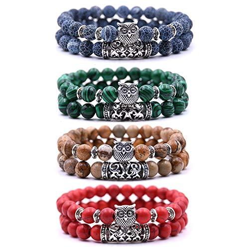 Bracelet Chouette Armband mit Eulendesign, Perlenarmband, Glücksbringer, 4, 4 Stück - Bleu, Rouge, Vert et Marron