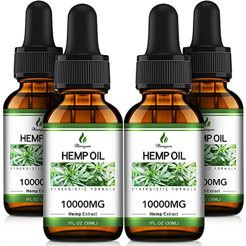 (10,000mg) Organic Hemp Oil Extract - 4 Pack - Organically Grown in USA - Co2 Extraction - Hemp Extract Tincture Drops - Vegan, Non-GMO
