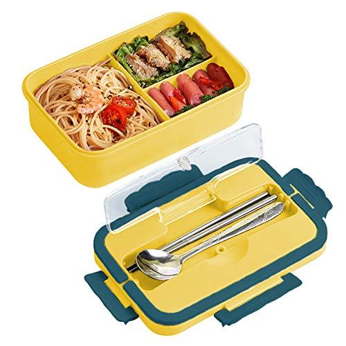 Bento Box Auslaufsicher, ZoneYan Versiegelte Brotdose Kinder mit Gabel, Löffel, Lunch Box für Kinder mit Drei Fächern und Besteck (Orange)