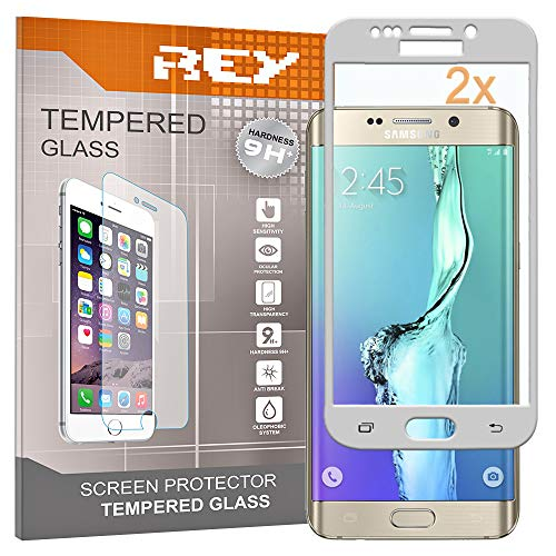 REY Pack 2X Pellicola salvaschermo 3D per Samsung Galaxy S6 Edge Plus - Edge+, Argento, Copertura Completa, Pellicola Protettiva Protezione Schermo, 3D / 4D / 5D