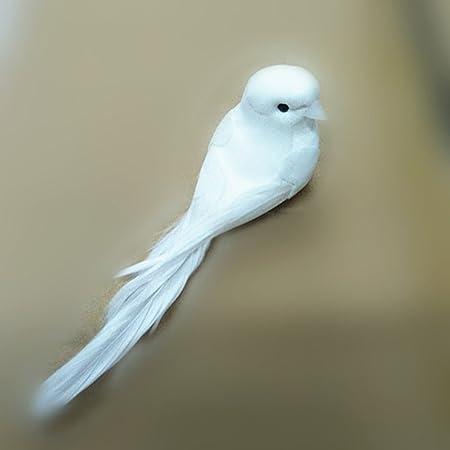 TOSSPER 1PCS 12 5CM Doves d/écoratifs Plumes artificielles Mousse Mini Oiseaux Blanc avec Aimant Oiseaux Artisanat D/écoration int/érieure D/écorations de Mariage 5