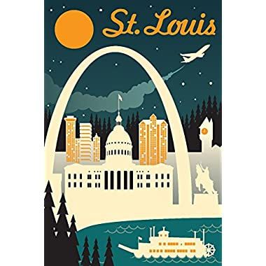 St. Louis, Missouri - Retro Skyline (9x12 Art Print, Wall Decor Travel Poster)