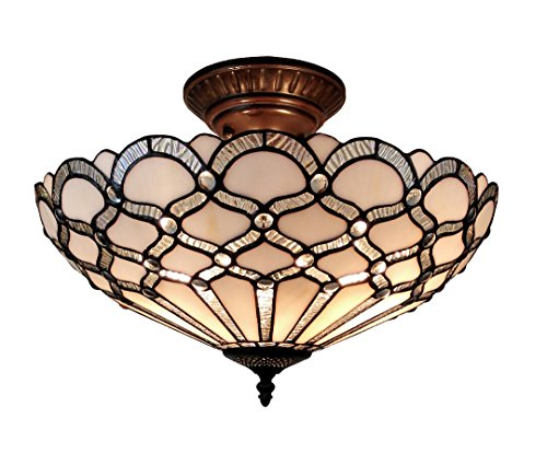 """Amora Lighting AM108CL17 Tiffany Style Ceiling Fixture Lamp, 17"""" Wide, White"""