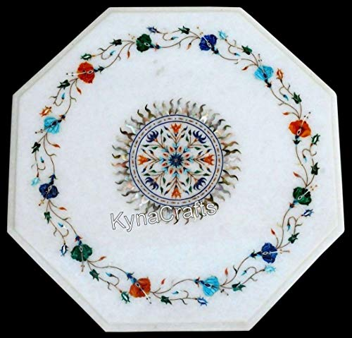 15 x 15 Inches Semi Precious Stones Inlaid Coffee Table Top Marquetry Art Patio Table Top from Art and Crafts
