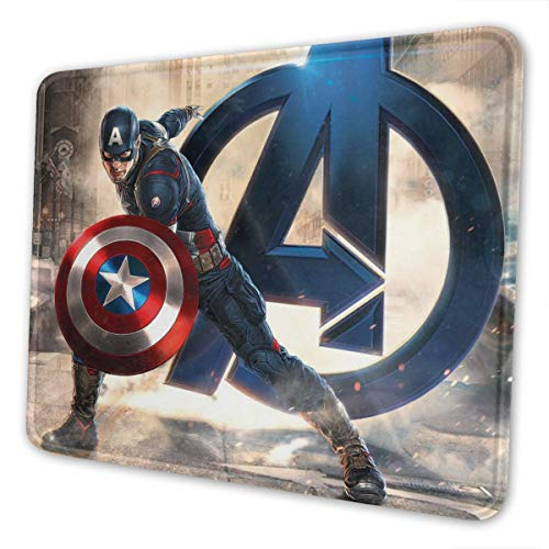 Captain America Gaming Mouse Pad with Stitched Edges Computer Mouse Mat Non-Slip Rubber Base for Laptop PC 12 X 10 X 0.12 Inches