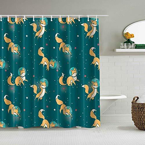 QINCO Duschvorhang,Füchse & Sterne Galaxie Fantasie Tier Astronaut,personalisierte Deko Badezimmer Vorhang,mit Haken,180 * 180