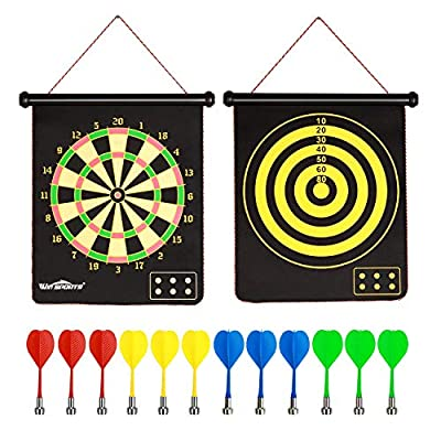 Win SPORTS Magnetic Dart Board Game for Kids and Adults-Two Sided Roll Up Dartboard,Indoor/Outdoor Game-15 Inch Kids Darts Board Includes 12 Magnetic Safe Darts and Easily Hangs Anywhere