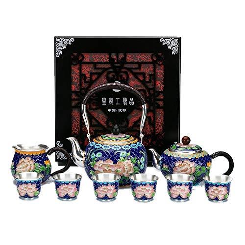 Juego de té de plata tibetana de Kung Fu de plata de ley hecha a mano, taza de té de plata de alta gama, juego de té de Cloisonne de alta gama, para fiesta de té (color de 9 piezas, tamaño: gratis)