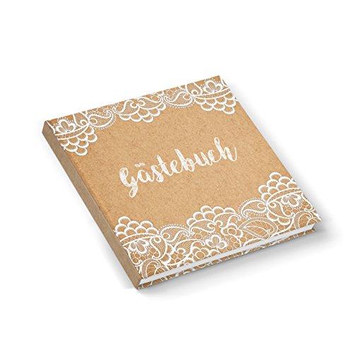 Gästebuch Hochzeitsgästebuch beige natur braun vintage Spitze Kraftpapier Look edel quadratisch 164 weiße Seiten für Hochzeit Geburtstag Kommunion Ferienwohnung
