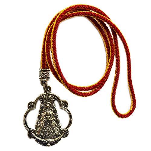 Medalla Virgen del Rocío. Tamaño Total: 46 cm. Cordón con los Colores de la Bandera de España
