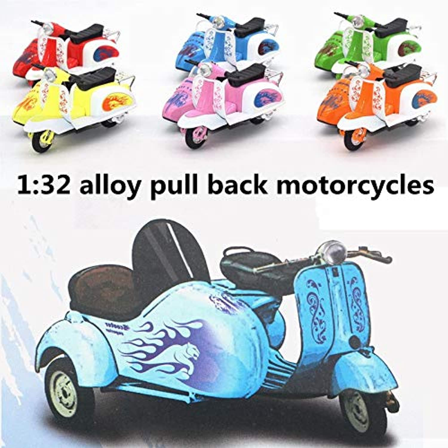 Generic 1 32 Alloy Pull Back Motorcycles,Retro Three  Wheeled Motorcycle Model,Metal diecasts,Toy Motorcycle,