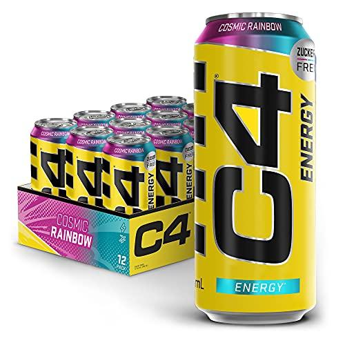 C4 Energy Drink - Caffeinated Koffeinhaltiges Getränk Carbonated Energy-Drink| Cosmic Rainbow | 500ml (Packung mit 12 Stück Drinks)