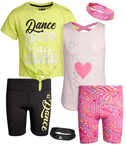 RBX Girls' Bike Shorts Set - Short Sleeve T-Shirt and Yoga Gym Shorts (4 Piece), Size 10/12, Pink/Lime Yellow