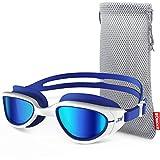 ZIONOR G6 Schwimmbrille mit Spiegel/klarem Objektiv UV-Schutz wasserdichter Antibeschlag Verstellbare Gurt Komfort Fit für Herren Damen Erwachsene Unisex Jugendliche (Einschließlich Schutztasche)
