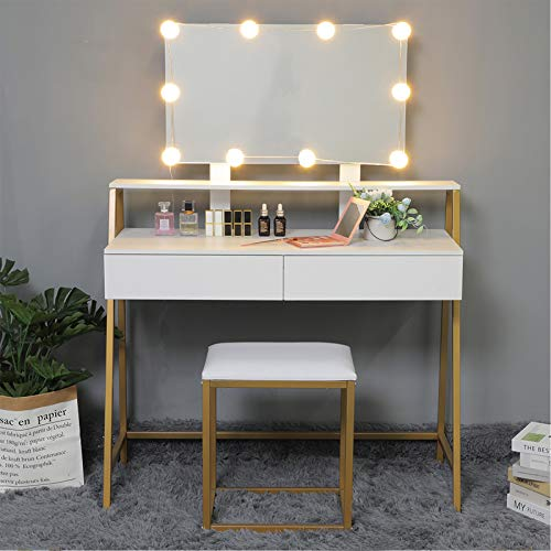 USIKEY Vanity Table Set with 10 LED Lights, Makeup Table with Large Mirror & 2 Drawers, Dressing Vanity Tables, Dresser Desk with Gold Metal Frame and Cushioned Stool, Golden White