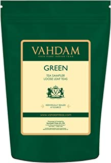 VAHDAM, Green Tea Sampler - 10 TEAS, 50 SERVINGS | 100% NATURAL INGREDIENTS | Detox Tea & Weight Loss | Brew Hot or Iced | Green Tea Loose Leaf | Tea Variety Pack