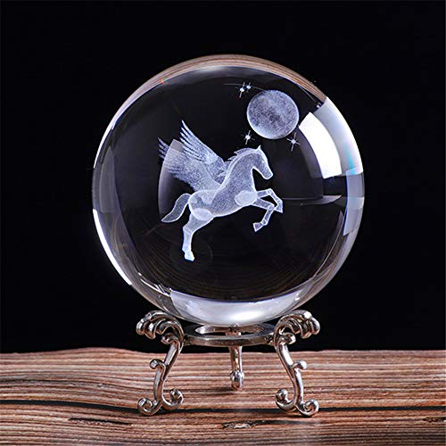 qianyue 80mm 3D laser Engraved Miniature Pegasus Crystal Ball Crystal Field Craft Glass Home Decoration Ornament Birthday Gift