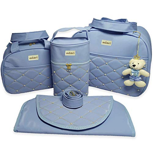 Kit Bolsas de Maternidade Menina/Menino Coleção Pérola 4 Peças Material Térmico Impermeável Cor: Cromado