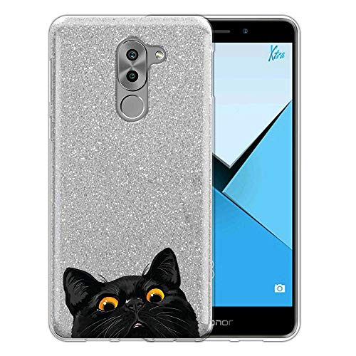 FINCIBO Case Compatible with Huawei Honor 6X/ Mate 9 Lite 5.5 inch, Shiny Sparkling Silver Bling Glitter TPU Protector Cover Case for Honor 6X - Black Bombay Kitten Cat