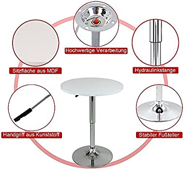 WOLTU BT02sz Table de Bar en MDF avec Pied,Table Ronde Design Hauteur réglable,Noir