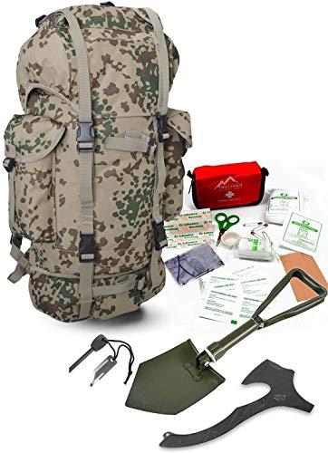 Survival Set BW Bundeswehr Flecktarn Kampfrucksack + Bundeswehr Spaten nach TL + Tomahawk M48 + Feuerstarter + Erste Hilfe Notfall Kit Farbe Tropentarn