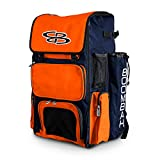 Boombah Superpack Bat Pack -Backpack Version (no Wheels) - Holds up to 4 Bats - Navy / Orange - for Baseball or Softball