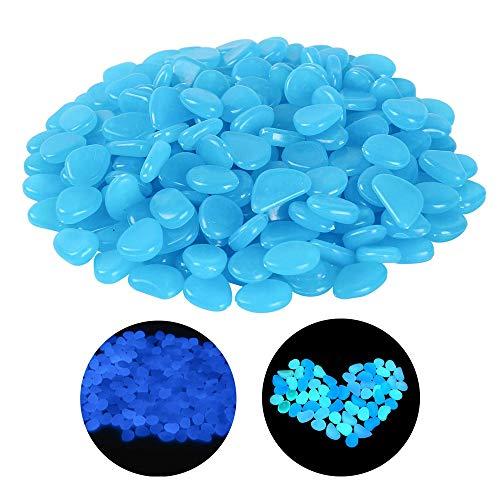 sylbx 200 Pezzi Blu Pietra Luminosa,Decorative Ciottoli Luminosi,Artificiale Pietre Luminosi,utilizzata per la Decorazione dell'acquario,Passerella da Giardino, Decorazione della Camera dei Bambini
