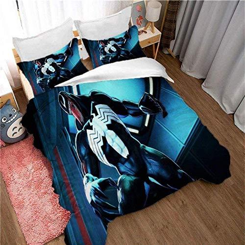 QWAS Marvel Venom - Juego de ropa de cama (100% microfibra, 100% microfibra, ropa de cama de fácil cuidado (L02,220 x 240 cm + 80 x 80 cm)