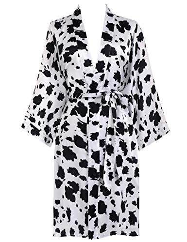 PRODESIGN Bata corta para mujer, kimono impreso, vestido de playa, de verano, de satén, con estampado de flores, con estampado de leopardo/vaca, Vaca Blanca, Talla única