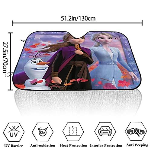 Disney Frozen - Parasol plegable para parabrisas delantero para la mayoría de los sedanes, SUV, camioneta, protege tu vehículo del calor UV