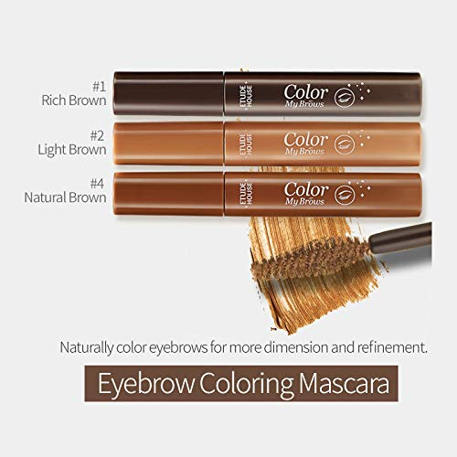 ETUDE HOUSE Color My Brows MAX 9g #4 Natural Brown | Brow Mascara With Coloring, Nutrition and Moisturizing Effect to Create a Natural Refined Look