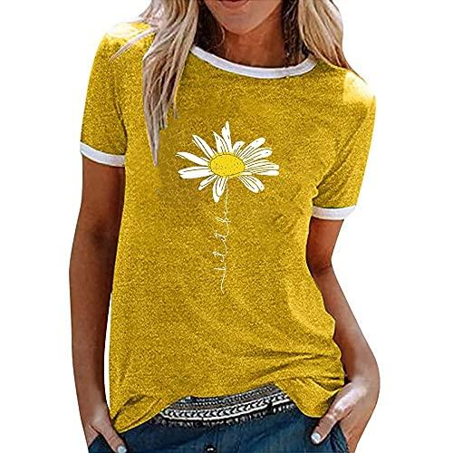 Manga Corta Mujer Tops Lindas Cómodas Verano Cuello Redondo Empalme Mujer Blusa Exquisito Pequeña Margarita Impresión Diseño Ocio Diario All-Match Mujer T-Shirts E-Yellow M