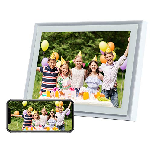 AEEZO WiFi Digital Picture Frame 10 Inch IPS Touch Screen FHD 2K Display, 16GB Storage, Auto-Rotate, Easy Setup to Share Photos & Videos from Anywhere, Smart Cloud Digital Photo Frame (White) Digital Frames Picture