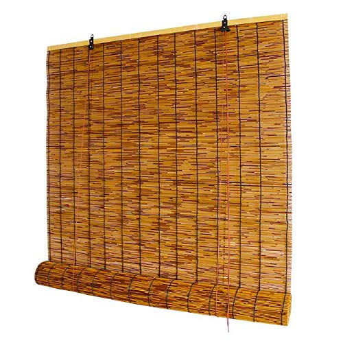 Filit Hand-Woven Reed Shades,Natural Bamboo Roller Blinds,Sun Screen/Ventilation/Health,Retro Roman Curtains,for Windows/Indoor/Outdoor,W83xH86cm/32.7x34in