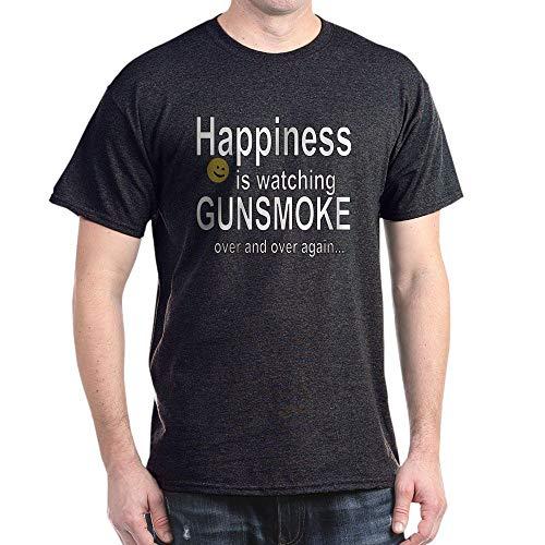CafePress Happiness is Watching Gunsmoke 100% Cotton T-Shirt Charcoal