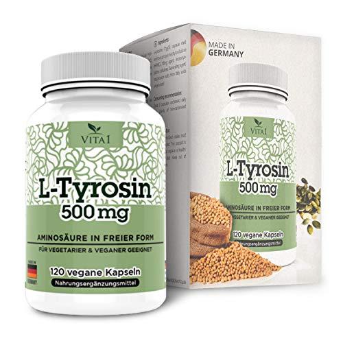 VITA1 L-Tyrosin 500mg • 120 Kapseln (2 Monate Vorrat) • Glutenfrei, vegan, koscher & halal • Hergestellt in Deutschland