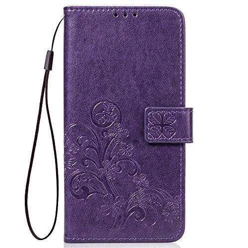 LAGUI Compatible para Funda Xiaomi Redmi 7, Relieve Dibujo Carcasa de Tipo Libro, púrpura