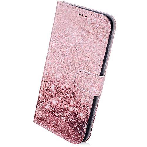 Herbests Kompatibel mit Samsung Galaxy A31 Handyhülle Leder Hülle Bunt Motiv Muster Leder Flip Schutzhülle Tasche Wallet Case Kartenfach Standfunktion Magnetverschluss,Rose Gold Marmor