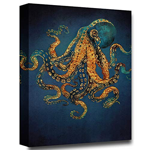 Faicai Copper Gold Octopus Wall Art Prints Nordic Blue Black Canvas Painting Modern Sea Life Artwork Picture Wall Decor for Living Room Bedroom Home Office Wooden Framed 'Gold Dream' 12'x16'