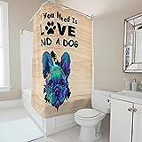 Gamoii Französische Bulldogge Blauer H& Duschvorhänge Bad Gardinen Schlafsaal Gardinen Polyestergewebe Badvorhang mit Haken White 200x200cm