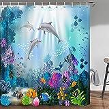 Delphin Duschvorhang, blauer Ozean, tropische Fische, Koralle, Unterwasser-Meerestiere, Delfin-Badezimmervorhänge-Set, Stoff, Delfin-Badezimmerduschvorhang mit Haken, 178,8 cm
