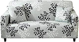 HOTNIU Stretch Sofa Cover Elastic Printed Couch Covers for 3 Cushion Couch Sofa Slipcover Universal Furniture Protector with One Free Pillowcase (3 Seat Sofa, Light Grey Leaves)