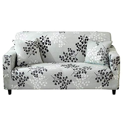 HOTNIU Stretch Sofa Cover Printed Couch Covers for 3 Cushion Couch Slipcovers for Sofas Loveseat Armchair Universal Elastic Furniture Protector with One Free Pillowcase (3 Seat, Cyan Grey Leaves)