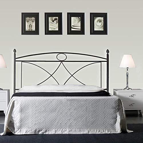Cama de Matrimonio de Hierro Color Negro Grafito con colchón ...